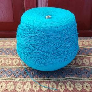 Turquoise Yarn. Crafts Weaving. Cone Yarn